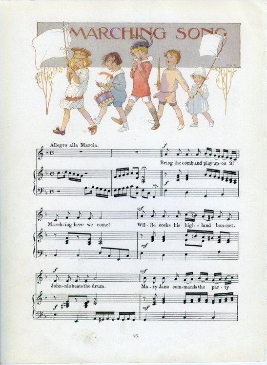 1915, nursery Room Decor, Marching Song, Margaret Tarrant, musica Wall Decor, giardino dei versi, Stevenson, cornice arte