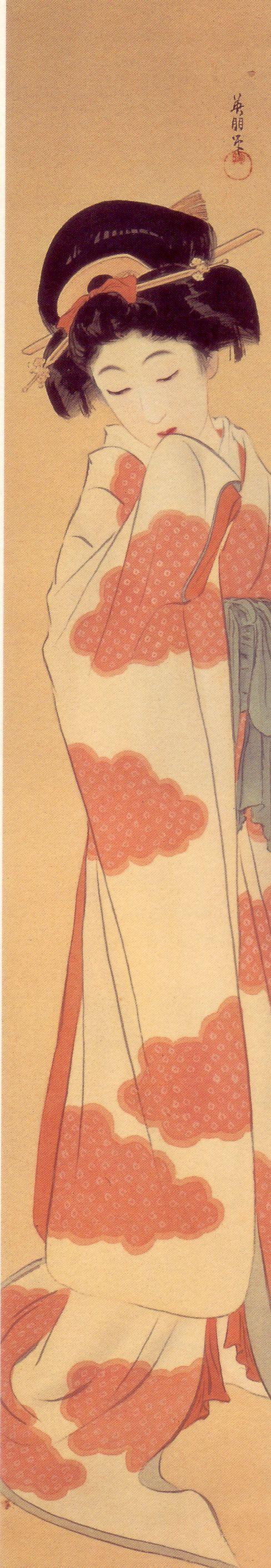 鰭崎英朋 初袷(はつあわせ)Hiresaki Eiho Hatsuawase (First registration)