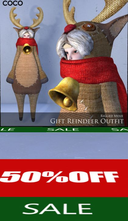 COCO - 2 week 50% sale on mesh clothes for the regular avs and a giftie http://maps.secondlife.com/secondlife/COCO%20DESIGNS/111/211/22
