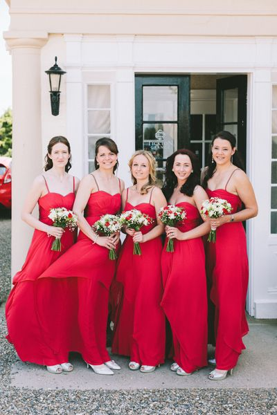 Red Brides Maid Dresses