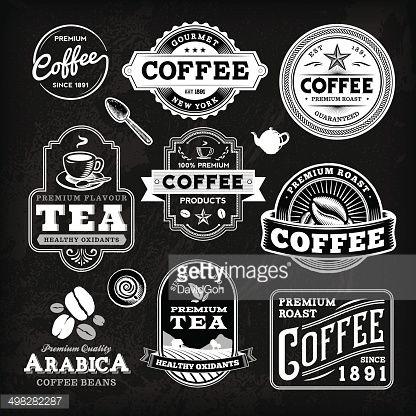 黒板コーヒーラベルのセット