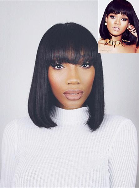 Full Lace Wigs & Lace Front Wigs | RPGSHOW - Bold & Sexy Hair Rihanna Black BOB 100% Human Hair Full Lace Wigs - SC013-s [SC013] - Banging Bob! Perfect for the care free wig wearer, as this wig does not require a lot of maintenance. Bangs come a bit longer for customization, blunt cut the bangs for an edgier look, or give the bangs a soft cut for a more relaxed look. This wig comes in