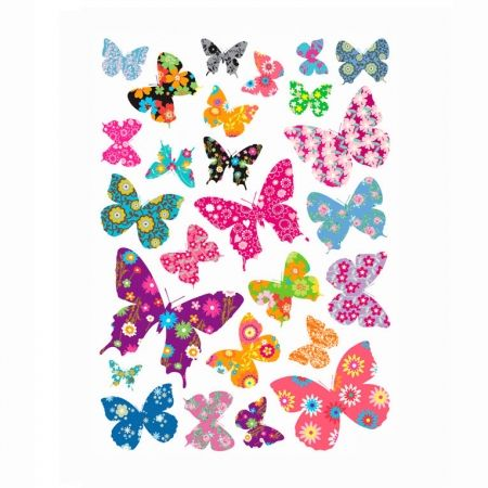 Decowall muursticker kinderkamer vlinders colourful butterflies