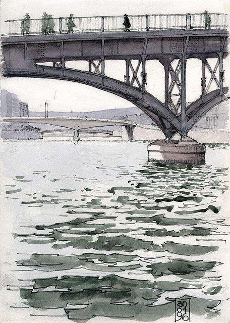Architectural Sketches - Liège, passerelle sur la Meuse by gerard michel, via Flickr -
