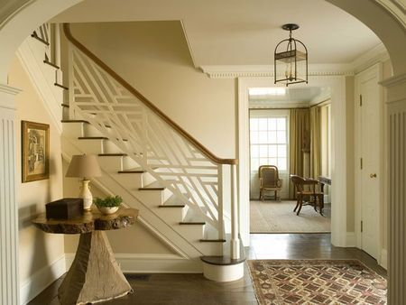 banister: East Hampton, Florida Houses, Geometric Patterns, Stairs Railings, Lights Fixtures, Staircases Design, Entry Foyers, Phoebe Howard, Staircases Railings
