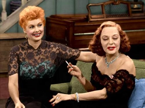 Lucille Ball with Tallulah Bankhead on an episode of the Lucy-Desi Comedy Hour in 1957.....Uploaded By www.1stand2ndtimearound.etsy.com