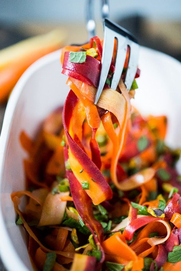 Feasting at Home: Shaved Carrot Salad with Pistachio, mint and Pomegranate Vinaigrette. Gluten free and Vegan!