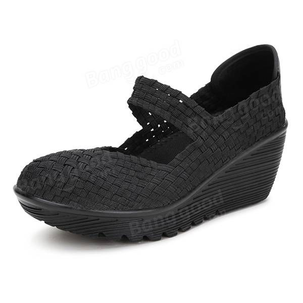 Elastic Belt Knitted Swing Shoes Female Sport Sandals Shoes - US$21.68