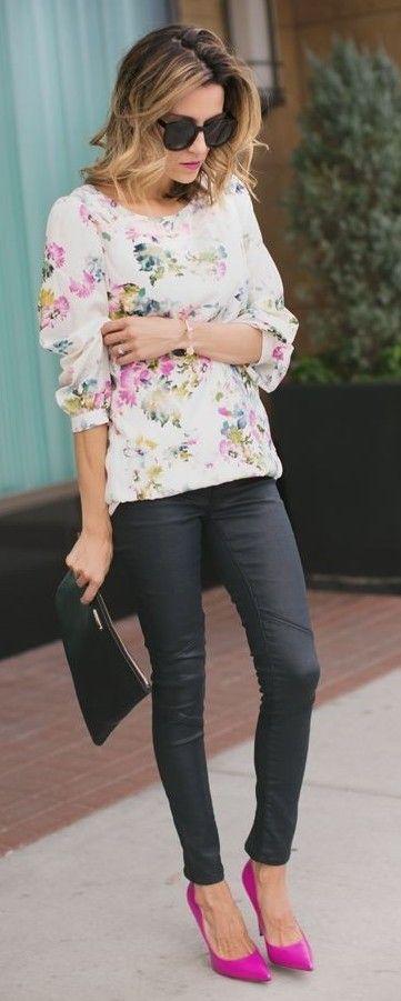 White Multi Pastel Floral Loose Blouse | Transitioning Short Dresses | Hello Fashion