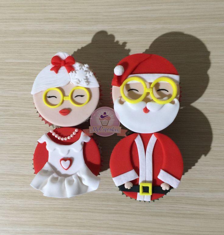 Cupcakes de navidad. Cupcake papa noel y mama noel