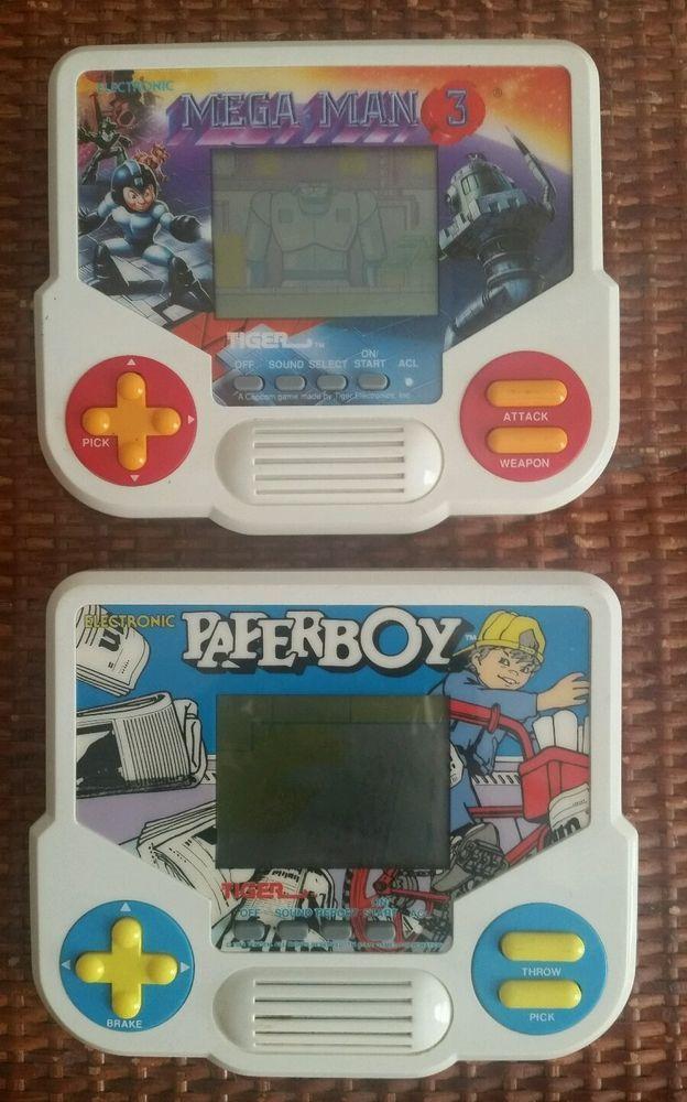Tiger Electronics Games Paperboy MegaMan Lot of 2 Vintage Handheld Video Games #TigerElectronics