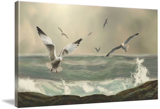 """""""Seabirds in the Surf"""" by I.M. Spadecaller"""
