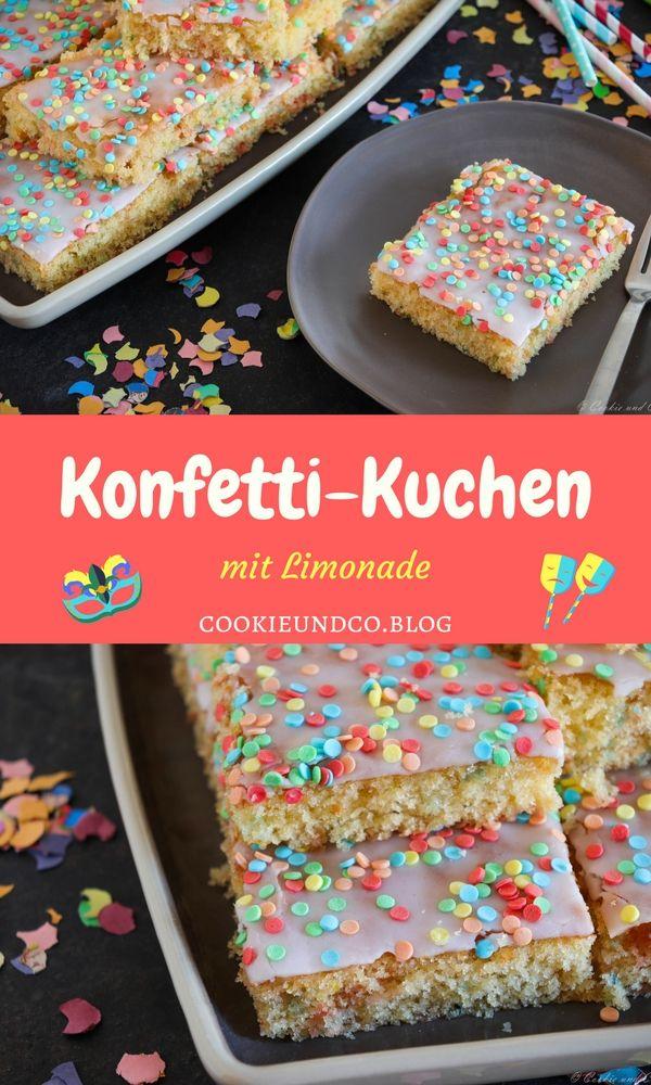 Rezept für einen leckeren Konfetti-Kuchen mit Limo. Ein sehr schneller, saftiger und fluffiger Kuchen aus Rührteig, der ganz prima in die Zeit des Faschings bzw. des Karnevals passt. Auch ideal für den nächsten Kindergeburtstag. #backen #rezept #konfettikuchen #kuchen #thermomixrezept #thermomix #fasching #karneval #kinder #kindergeburtstag #lemonade