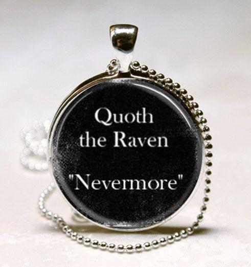 Edgar Allan Poe Book Necklace Quoth the Raven Nevermore Literary Quote Art Pendant with Ball Chain Included