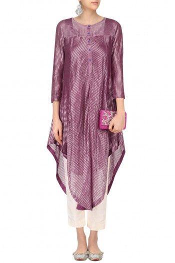 Sloh Designs Pink Stripes Play Asymmetric Kurta #happyshopping #shopnow #ppus