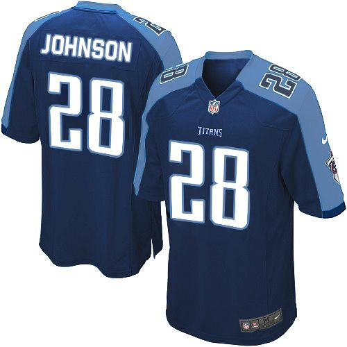 chris johnson jersey youth nike tennessee titans 28 game dark blue alternate jersey size