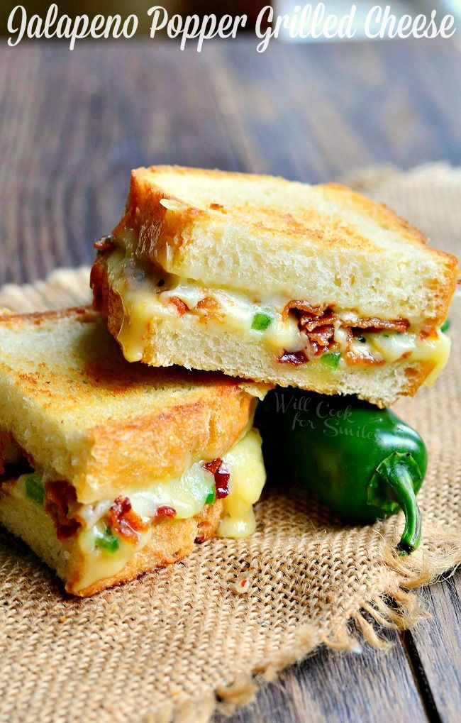 Jalapeno Popper Grilled Cheese. Awesome grilled cheese loaded with gooey cheese, jalapenos and bacon. | from willcookforsmiles.com