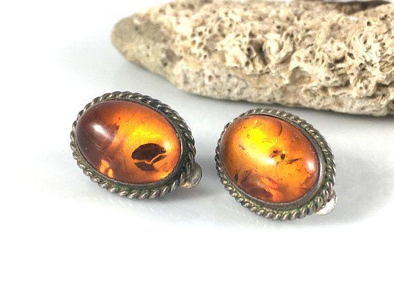 Amber Earrings, Amber clip on earrings, Amber jewelry, Cogniac Amber Earrings, Clip on amber earrings, Amber and silver earrings