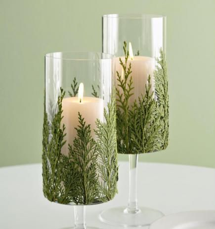 Decorate a candle container to combine the freshness of the season with the welcoming warmth of candlelight.