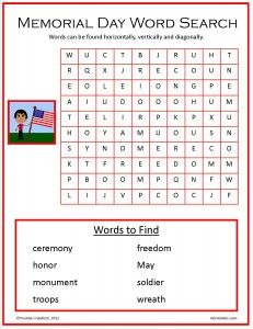 Free Memorial Day word search.