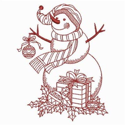 Ace Punti di disegno del ricamo: Redwork Snowman 3,80 pollici x 2,96 pollici H W