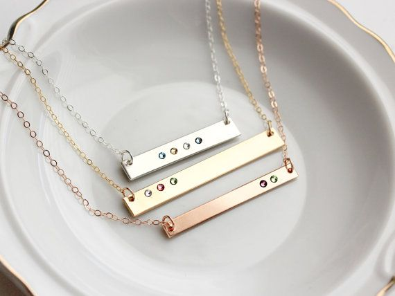 Birthstone Bar Necklace - Keepsake Personalized Bar Necklace Gold Bar Necklace…