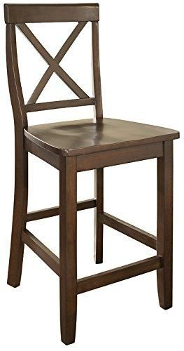 Crosley Furniture X Back 24 Inch Bar Stool Vintage Mahogany Set
