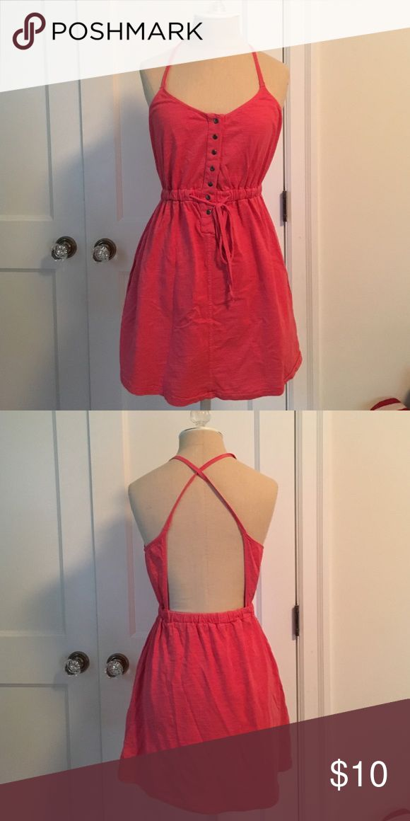 Coral sundress - urban outfitters Size small, Ecote coral sundress! Button down front, open back. Ecote Dresses Mini