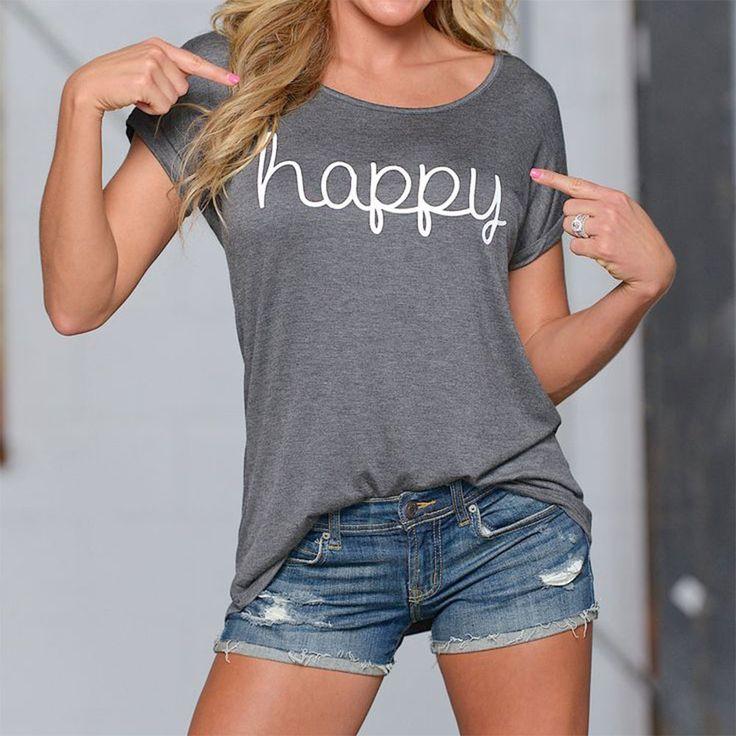 2016 Lettera Stampata Donne Maglietta di Estate di Modo Solido Manica Corta Top Tees O Collo Casual T-Shirt S/M/L/XL Camisetas Mujer