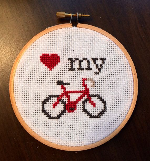 ***THIS IS A PATTERN, NOT A FINISHED PIECE***  This is an instant download .PDF pattern consisting of three pages: a color preview, a grid with symbols, and a key.    This cross stitch is very small and adorable. Show your love for my personal favorite mode of transportation: the bicycle! I heart my bike. Do you heart yours? Do you want to communicate that to others through the majestic medium of cross stitch?! I THOUGHT SO!  Designed to fit in a 4-inch wooden hoop when stitched on 14-count…