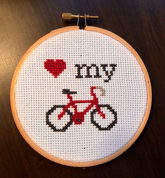 PATTERN Love My Bike Mini Tiny Cross Stitch Hoop by stephXstitch