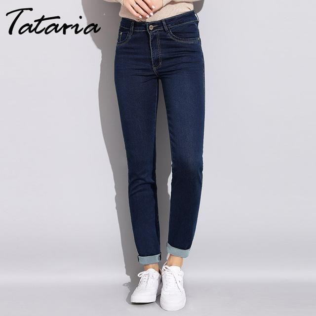 Damen Denim Frauen High Waist Jeans Plus Size Hoher Hosen Jeans Mit Mom Size Skinny Stretch Taille Vaqueros Pitillo Pantalones De Mujer Pantalones