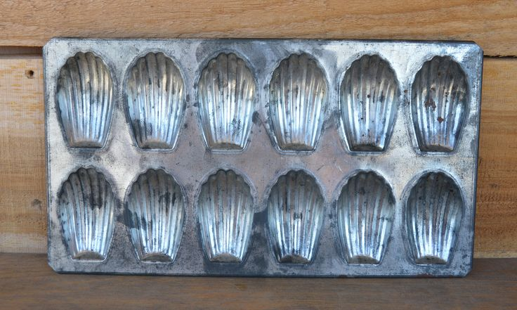 Vintage French Metal Madeleine Butter Cakes Baking Pan Tray Makes 1 Dozen. Made in France.  Rustic Country Kitchen Decor. by CharmarsCupboard on Etsy