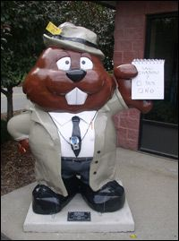 "Phantastic Phils""The Spirit of Punxsutawney"" Artist - Sandy Zambory, Original design - Rick Weiss. Sponsored by the Punxsutawney Spirit Newspaper. Located at the corner of Pine and Sycamore Streets in front of The Spirit office."