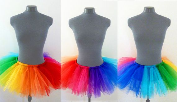 These are lovely hand made tutus, perfect to dress up for any costume party! Each one is made in bright rainbow colors. Red, Orange, Yellow,