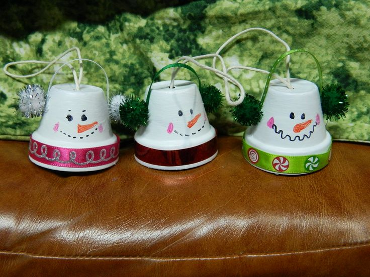 Vintage Clay Pot Snowman Ornaments — Crafthubs | claypot ... Village Painting