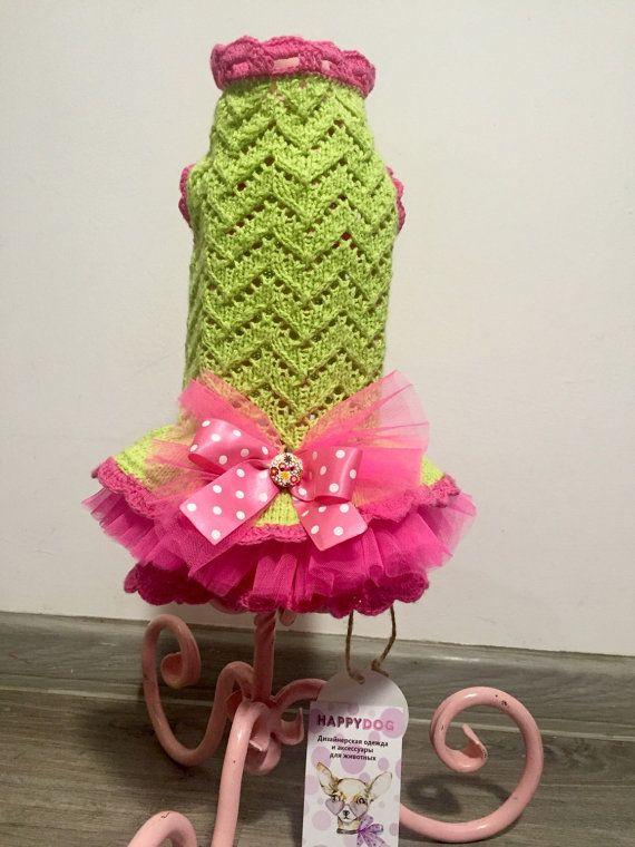 Lime green and hot pink dog dress Birthaday dog от AnnaHappydog