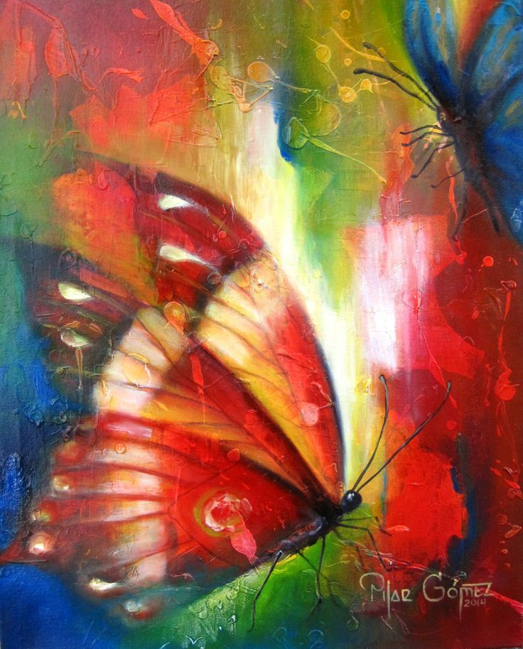 Beautiful colorful butterfly painting. cuadro con mariposa