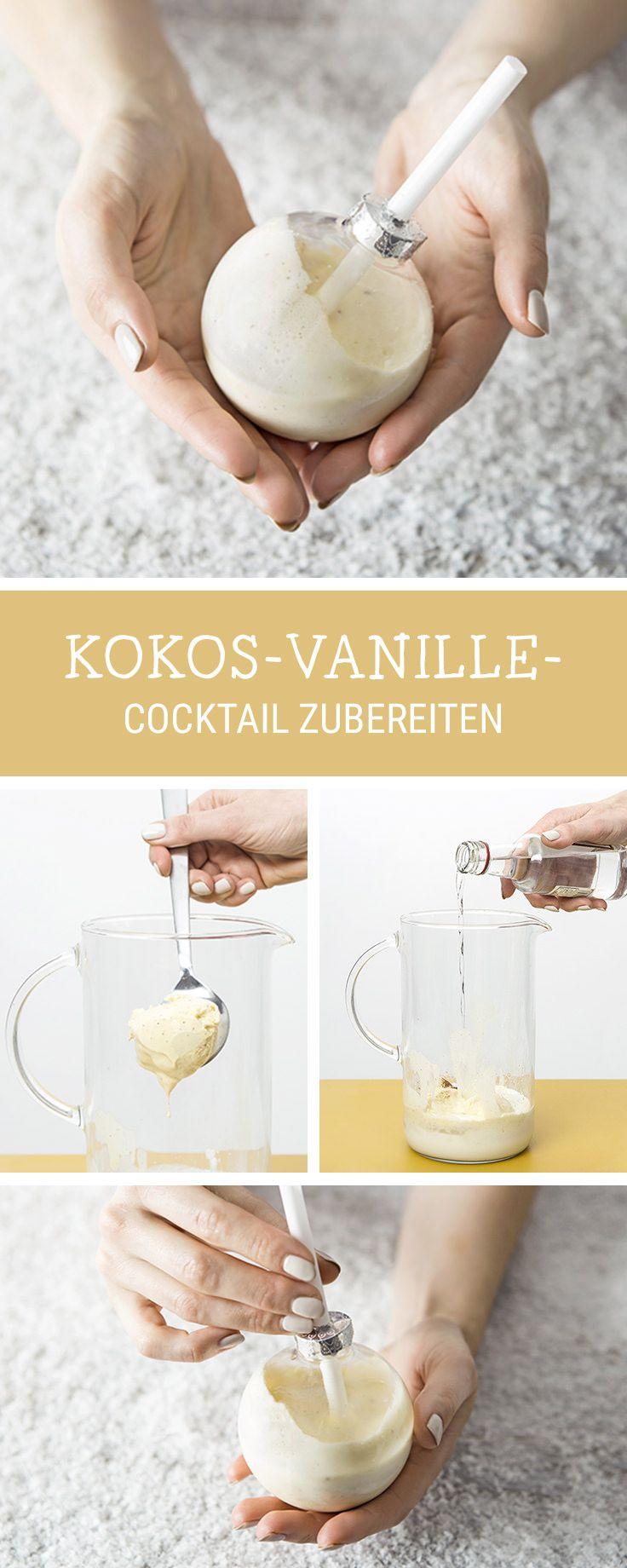 #rezept für #weihnachten : Cocktail mit Kokos und Vanille zubereiten / sweet coconut and vanilla punch for christmas via DaWanda.com