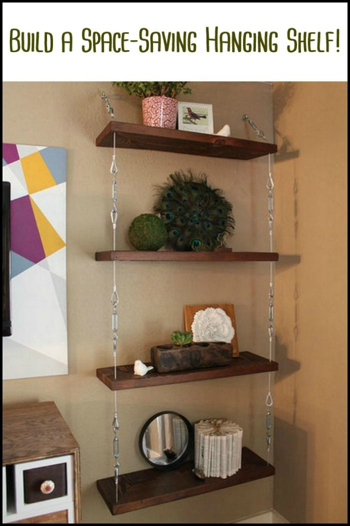 Save space in your home by building an inexpensive hanging shelf for miscellaneous items! What room in your home needs more storage space?