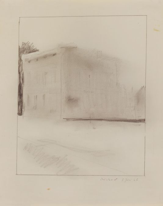 Gerhard Richter Hotel oder Haus Hutter Hotel or Hutter House 1965 29.5 cm x 23.5 cm Drawings CR: 65/10  Graphite on paper