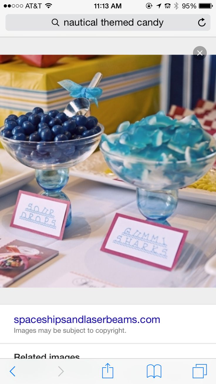 [Inspiration] Nautical Themed Birthday Party - gummi sharks, another candy  (and color) to add to the table!