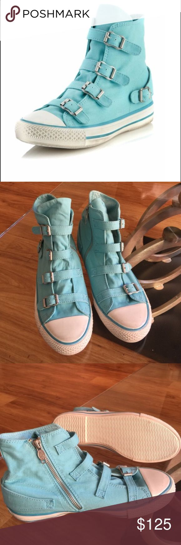 🆕ash sneakers ⭐️NWOT⭐️SMOKE/PET FREE HOME⭐️SOLD OUT COLOR. Canvas high tops with rubber cap toe, four buckled straps down front, side zip for ease, buckled detail on back, striped rubber midsole. Is meant to have a distressed look so markings are there purposely not from me wearing them. Ash Shoes Sneakers