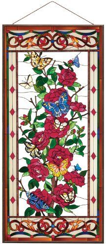 Joan Baker Designs APM611 Red Camellias Glass Art Panel, 17-1/2 by 37-1/2-Inch by Joan Baker Designs. Save 11 Off!. $189.95. Bronzed metal frame with chain. Original art from Joan Baker Designs. Hand-painted art glass window panel. Apm611 17.5w by 37.5h. Large size turns ordinary window into dramatic showcase. On this Art Panel, clusters of deep red camellias are framed by a tiffany-style border and set off by the contrasting hues of brilliant butterflies. The classic elegance of this...