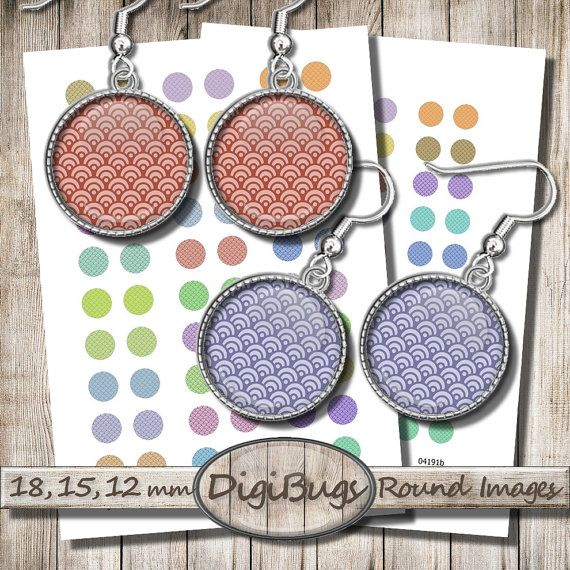 Round Earring Images, Printable Scales Pattern, 12 mm, 15 mm, 18 mm Circles, Colorful Jewelry Images, Waves Digital Paper, e3