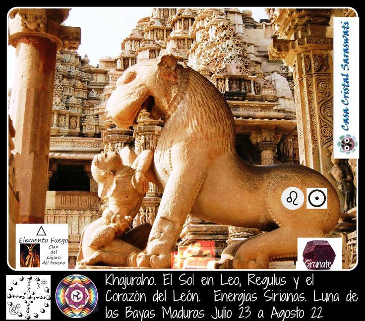 Piedra 20 Luna de las Bayas Maduras. Julio 23 a Agosto 22 Kajuraho: el sol en regulus y el Corazón del Leon.  Energias Sirianas.  Un dia especial para celebrar en el templo del sol y del amor de la india, de las energías de la diosa durga la que cabalga sobre un león.  #piedra20 #lunadelasbayasmaduras #kajuraho #Leo #ruedadelamedicina #espiraldecristales