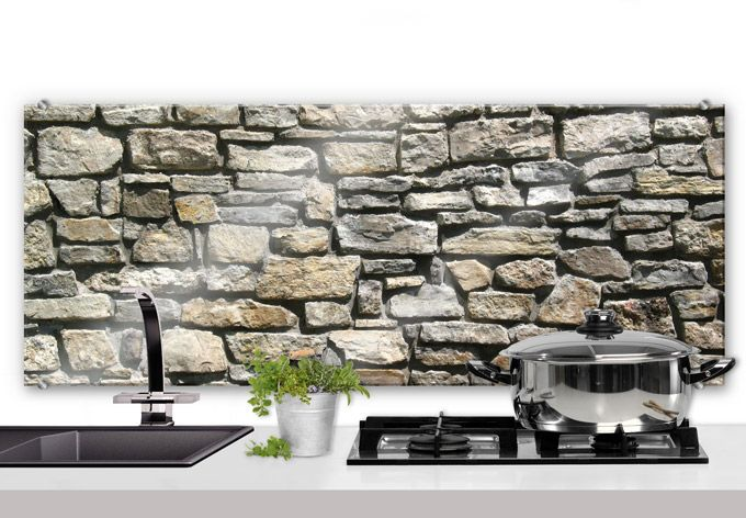 Natural Stone Wall Panorama Kitchen Splashback Great Stone Wall With A Robust Look In A Very N Kitchen Remodel Design Kitchen Interior Kitchen Splashback
