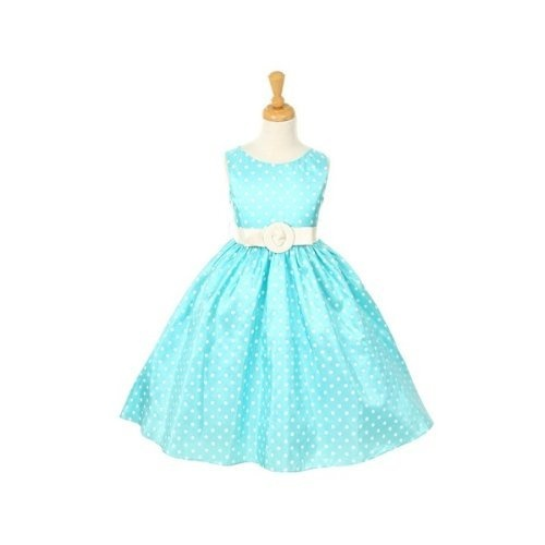 Cinderella Couture Madison - 1097-Cute polka dots dress with belt ,Aqua/White Size 10 LittlePartyDresses, http://www.amazon.com/dp/B005K68WW2/ref=cm_sw_r_pi_dp_7TUpqb0DC5593/engangement party