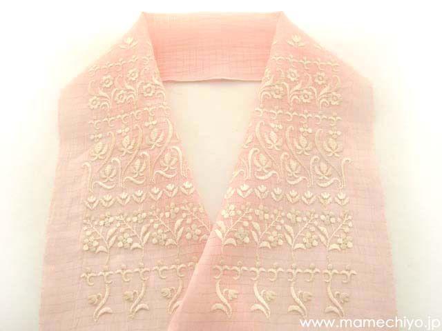 夏半衿 レース刺繍 ピンク (麻絽)