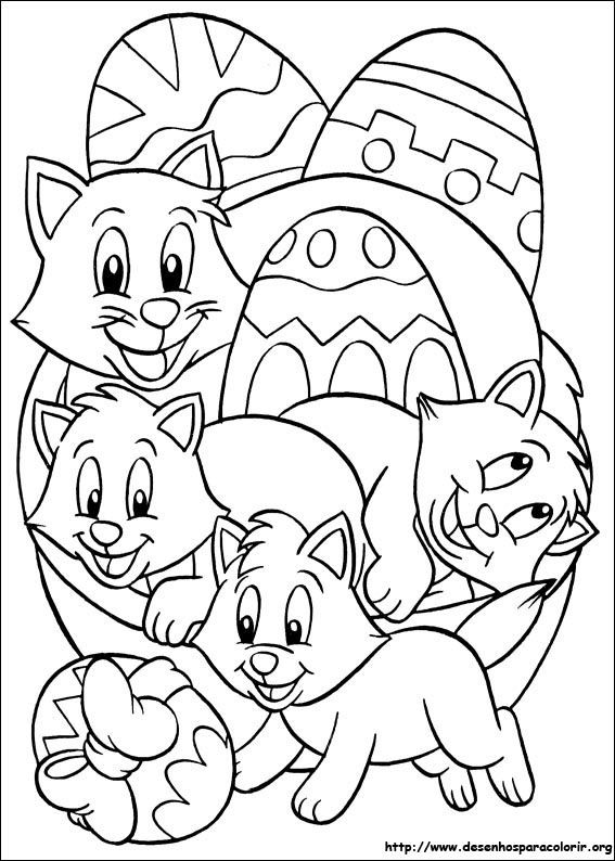 Little Cats Happy Easter Day Coloring Picture For Kids